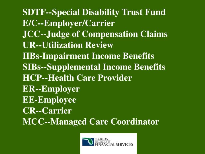 SDTF--Special Disability Trust Fund