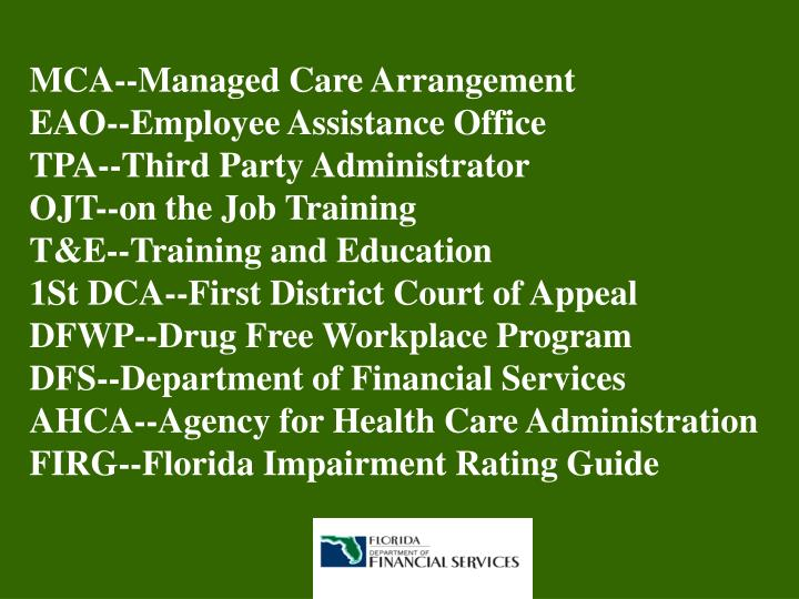 MCA--Managed Care Arrangement