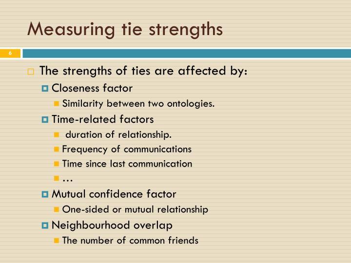 Measuring tie strengths