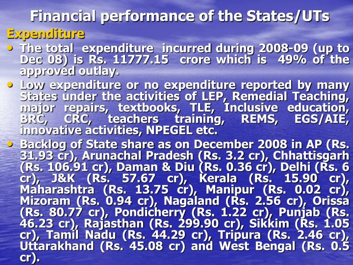 Financial performance of the States/UTs