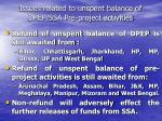 issues related to unspent balance of dpep ssa pre project activities