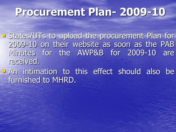 Procurement Plan- 2009-10