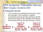 epa guidance population served water supply guidance 66a2