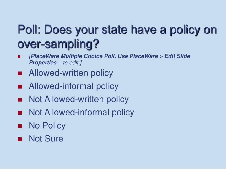 Poll: Does your state have a policy on over-sampling?