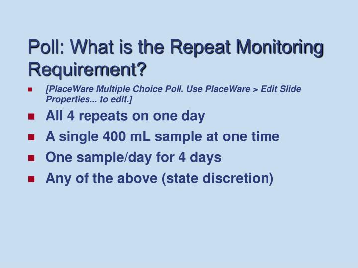 Poll: What is the Repeat Monitoring Requirement?