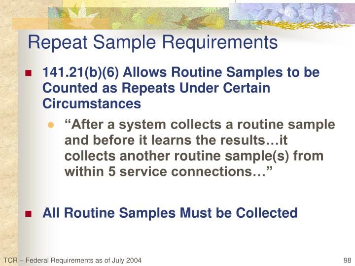 Repeat Sample Requirements