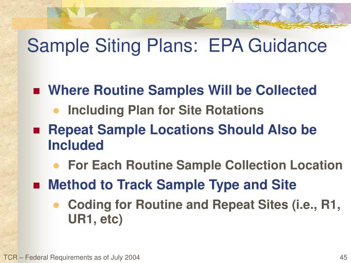 Sample Siting Plans:  EPA Guidance