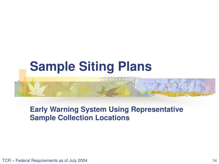 Sample Siting Plans