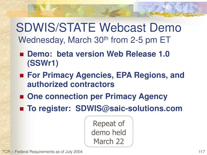 SDWIS/STATE Webcast Demo