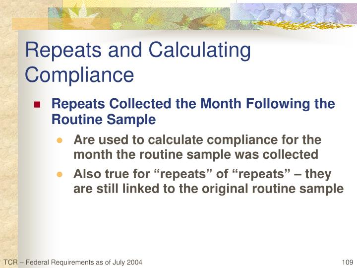 Repeats and Calculating Compliance