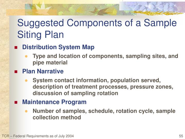 Suggested Components of a Sample Siting Plan