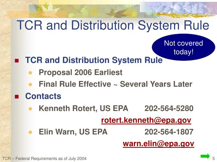 TCR and Distribution System Rule