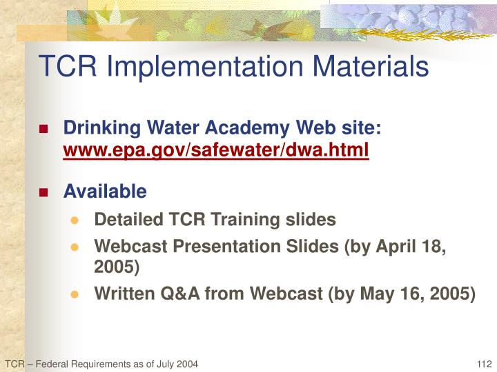 TCR Implementation Materials