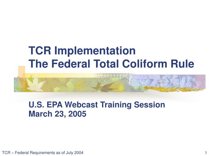 Tcr implementation the federal total coliform rule