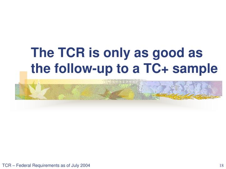 The TCR is only as good as the follow-up to a TC+ sample