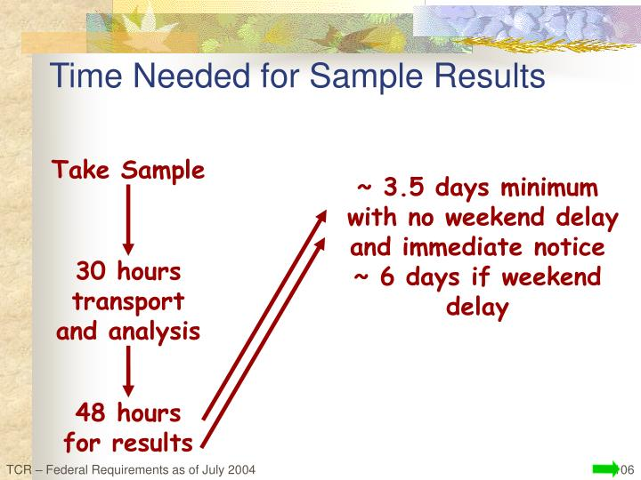 Time Needed for Sample Results