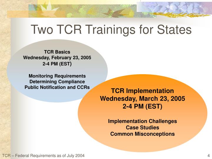 Two TCR Trainings for States