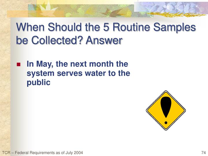When Should the 5 Routine Samples be Collected? Answer