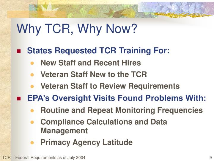 Why TCR, Why Now?