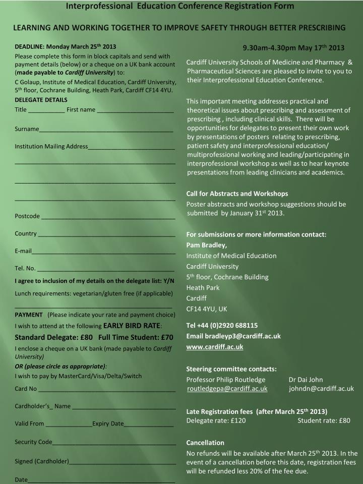 Interprofessional  Education Conference Registration Form
