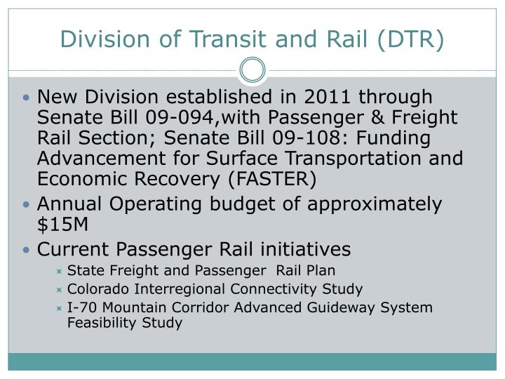 Division of Transit and Rail (DTR)
