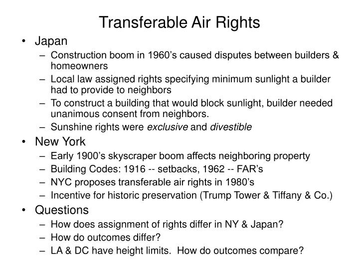 Transferable Air Rights