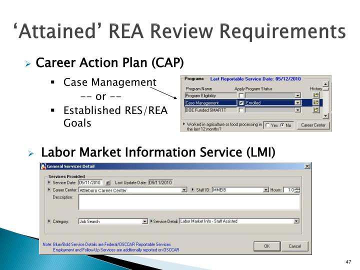 'Attained' REA Review Requirements
