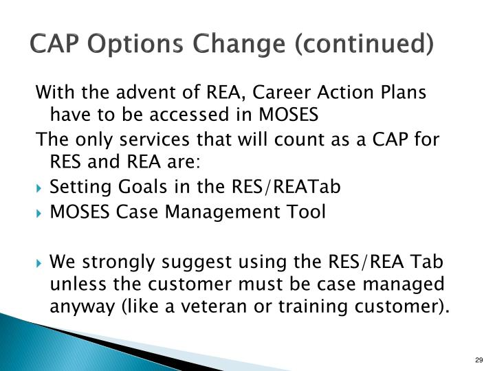 CAP Options Change (continued)