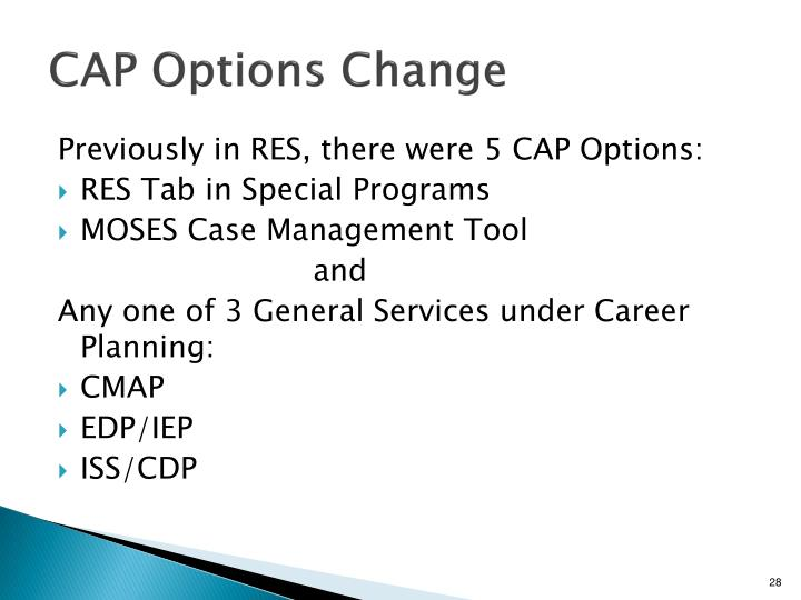 CAP Options Change