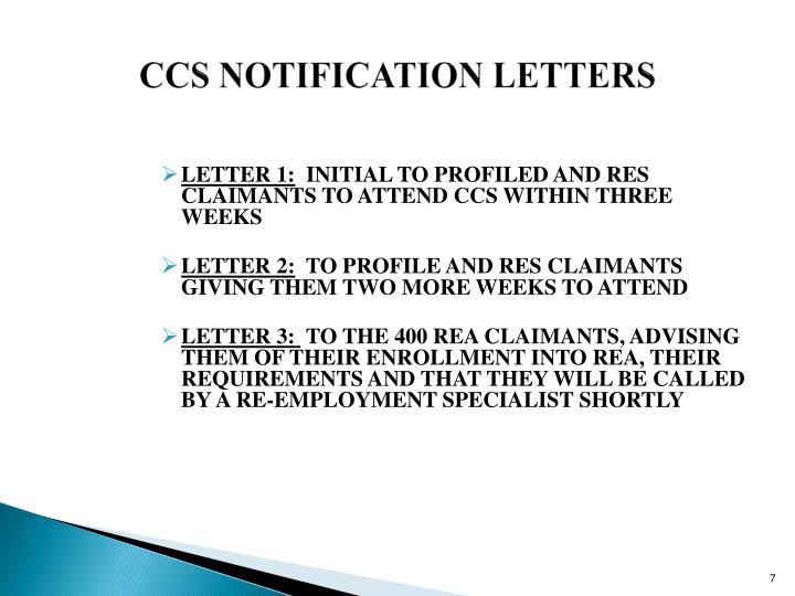 CCS NOTIFICATION LETTERS