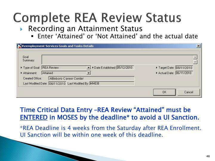 Complete REA Review Status