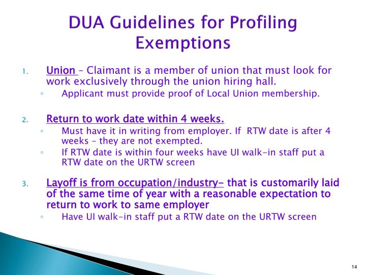DUA Guidelines for Profiling Exemptions