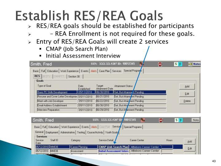 Establish RES/REA Goals