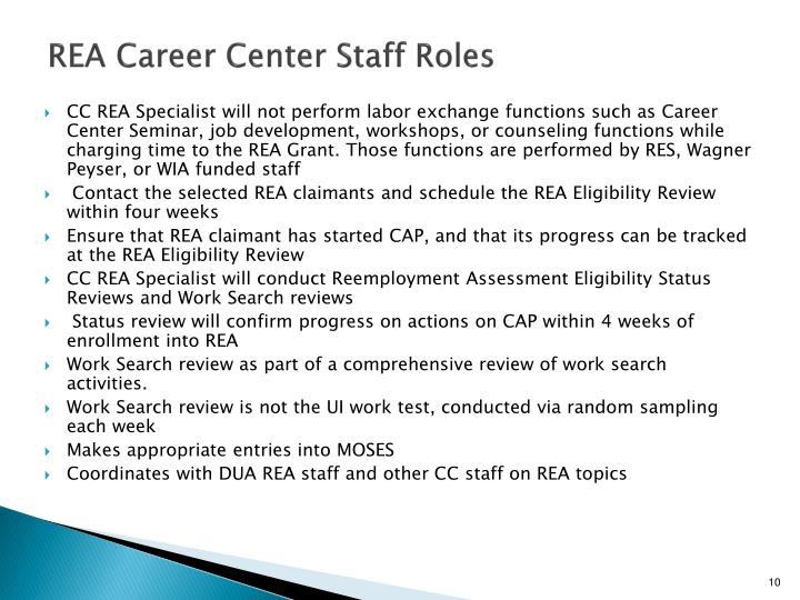 REA Career Center Staff Roles