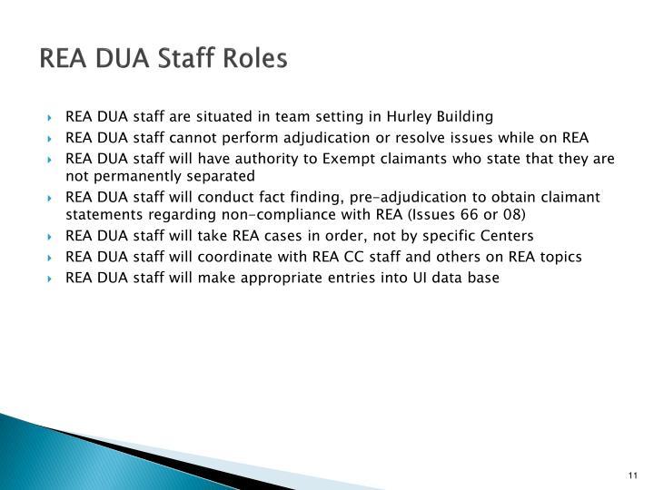 REA DUA Staff Roles