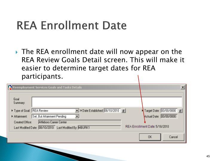 REA Enrollment Date