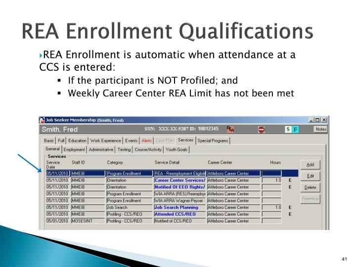 REA Enrollment Qualifications