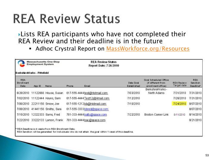 REA Review Status