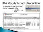 rea weekly report production