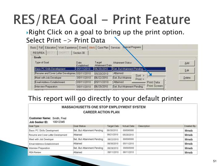 RES/REA Goal - Print Feature
