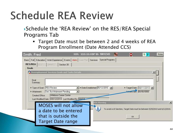 Schedule REA Review