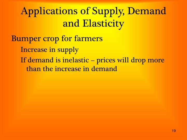 Applications of Supply, Demand and Elasticity