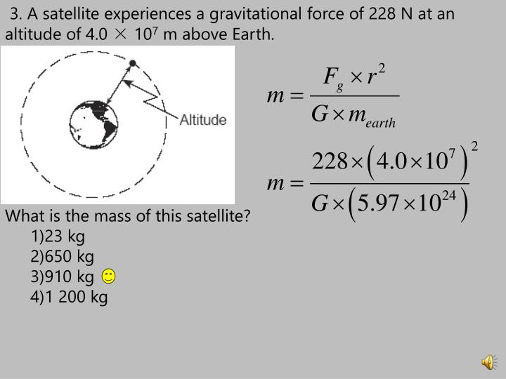 3. A satellite experiences a gravitational force of 228 N at an altitude of 4.0 × 10