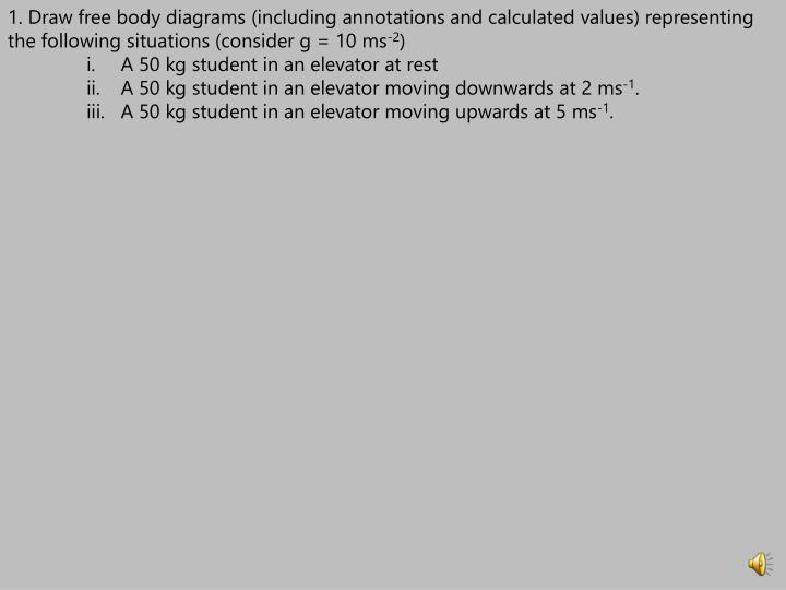 1. Draw free body diagrams (including annotations and calculated values) representing the following situations (consider g = 10 ms