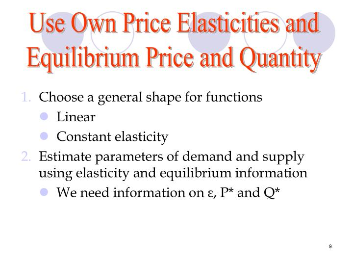Use Own Price Elasticities and