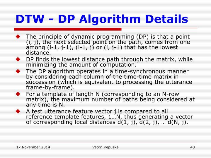 DTW - DP Algorithm Details