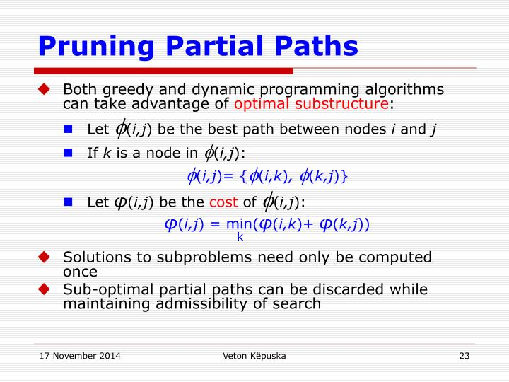 Pruning Partial Paths