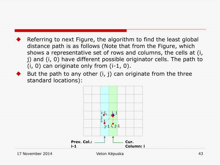 Referring to next Figure, the algorithm to find the least global distance path is as follows (Note that from the Figure, which shows a representative set of rows and columns, the cells at (i, j) and (i, 0) have different possible originator cells. The path to (i, 0) can originate only from (i-1, 0).