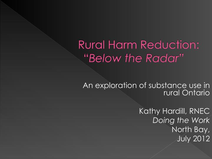 An exploration of substance use in rural Ontario