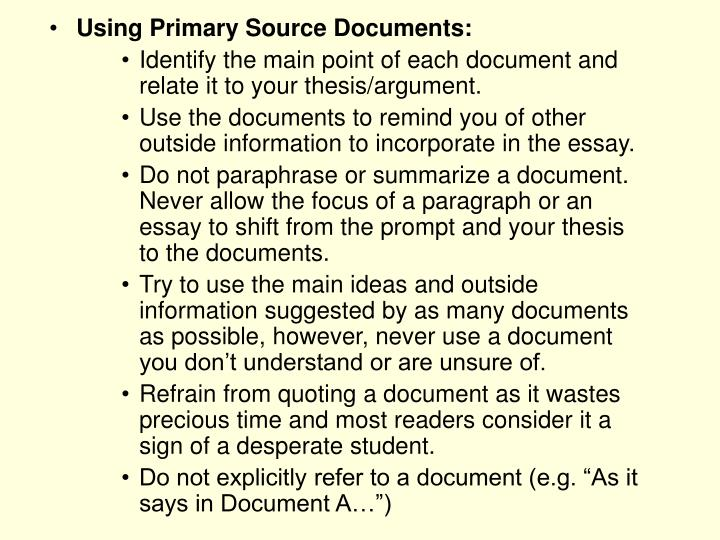 Using Primary Source Documents: